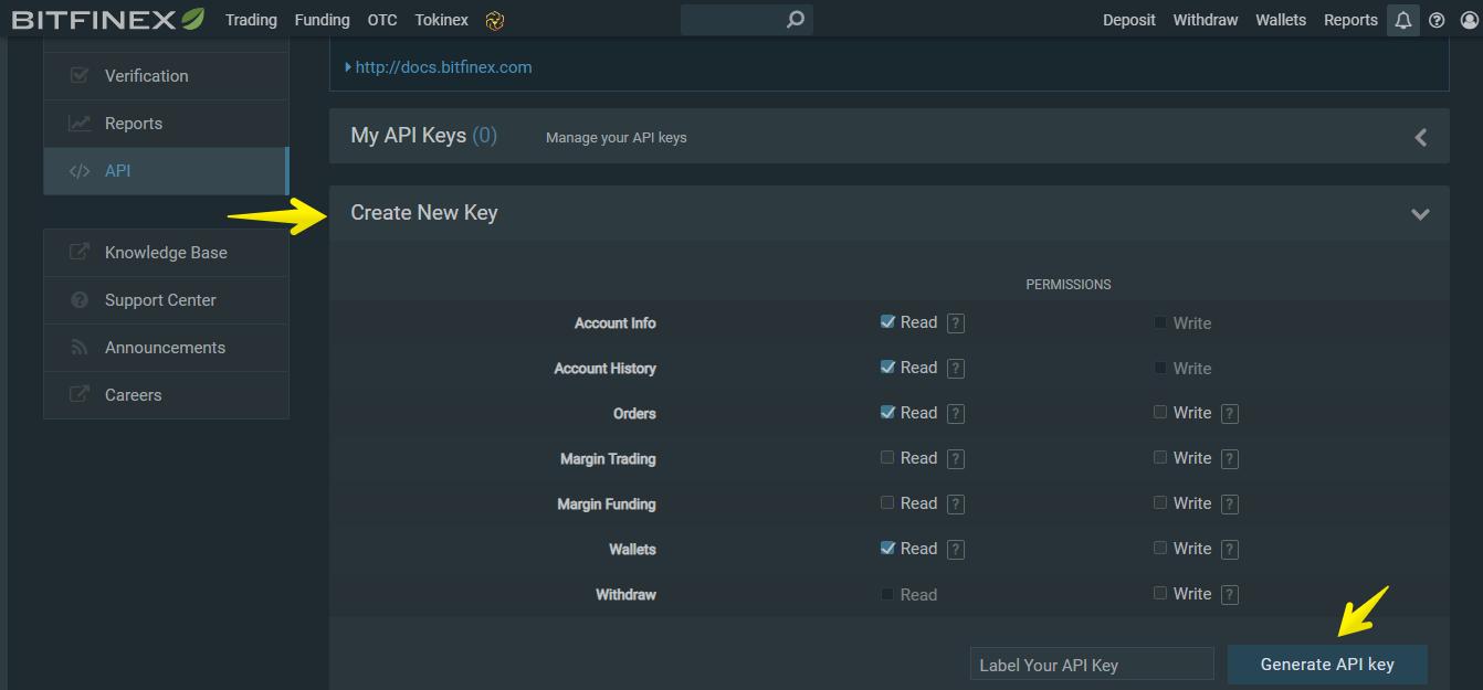 create API keys on Bitfinex for trading bots