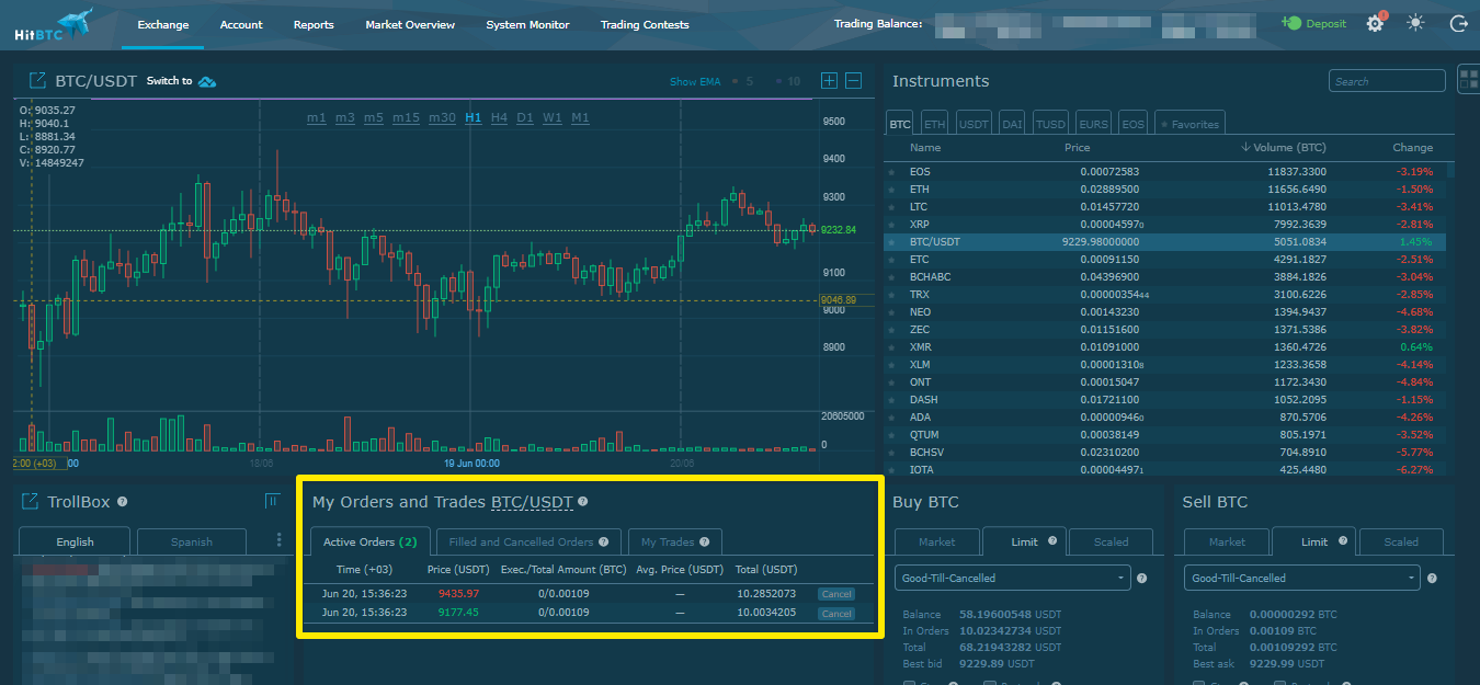 How to work with orders on HitBTC – Cryptocurrency Trading Bots – TradeSanta