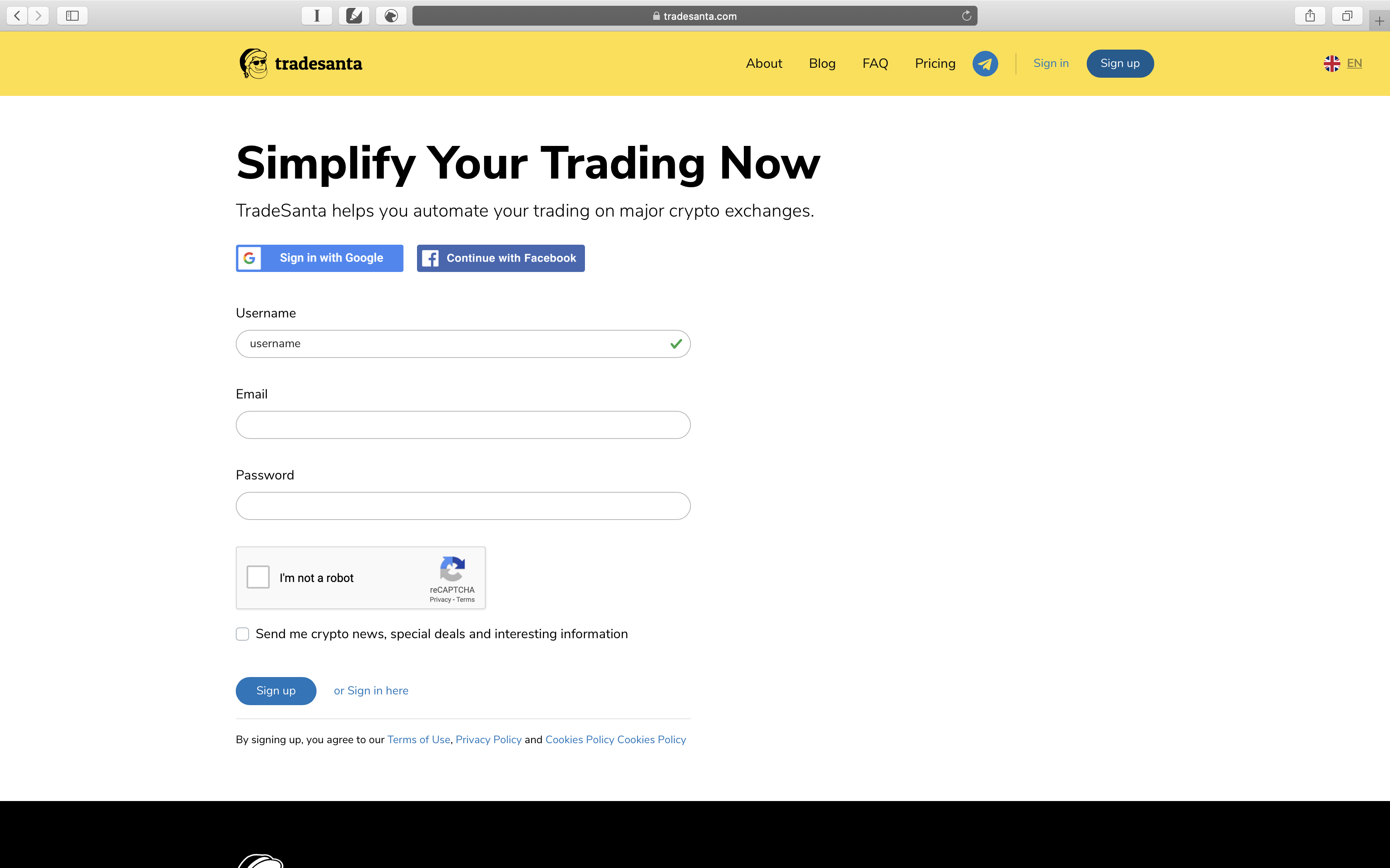 How to sign up on TradeSanta